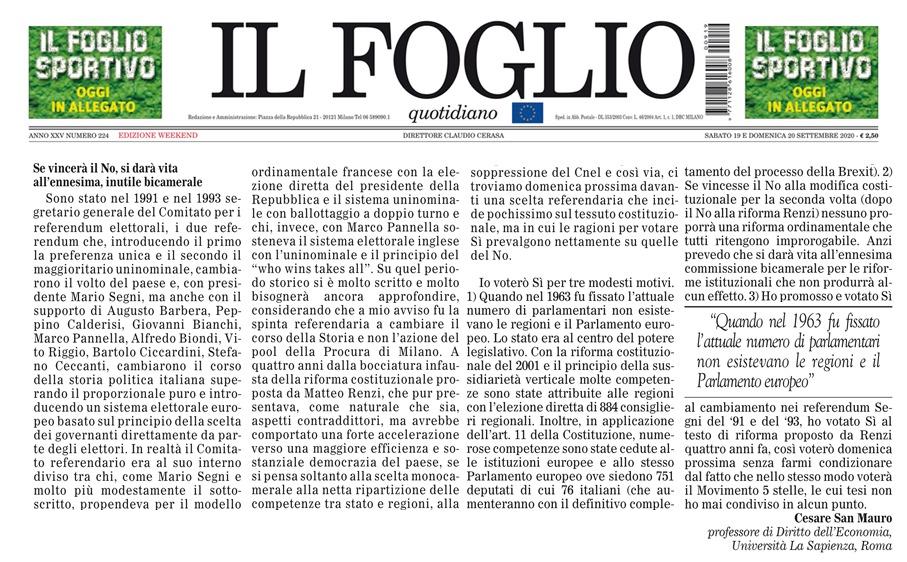 Dichiarazioni del Prof. Avv. Cesare San Mauro sul taglio dei parlamentari